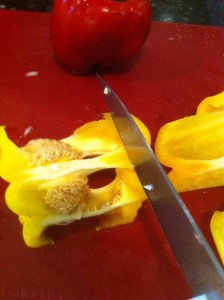 Cut the bottom off the pepper