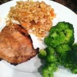 Soy Garlic Pork Chops with Fried Rice