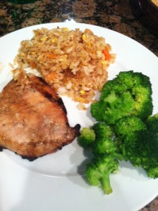 Soy Garlic Pork Chops with Fried Rice