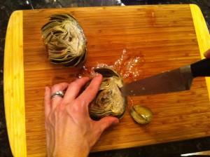 Cleaning an artichoke