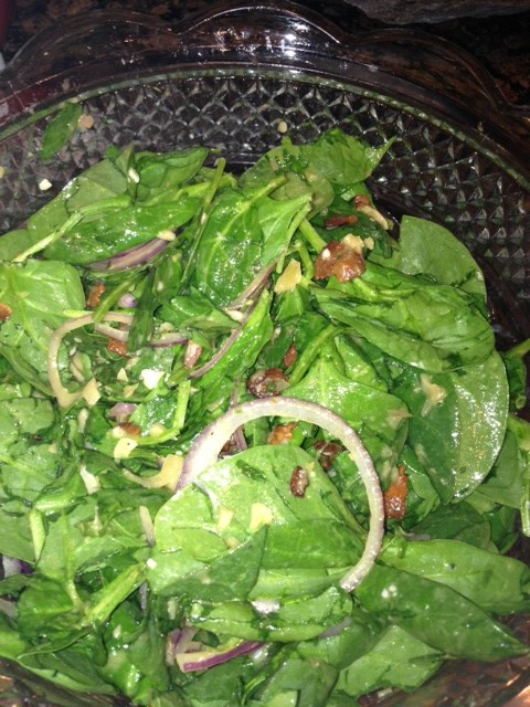 Spinach Salad with Bacon Dressing, blue cheese and red onion