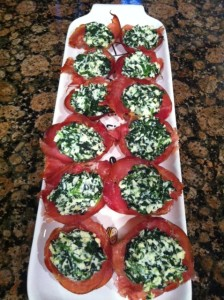 Prosciutto with spinach and ricotta cheese