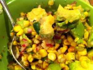 Corn and avocado on tuna