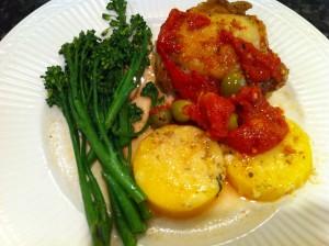 Chicken, broccolini and polenta