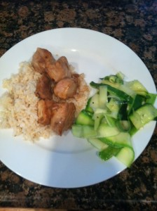 Pork with brown rice and zucchini