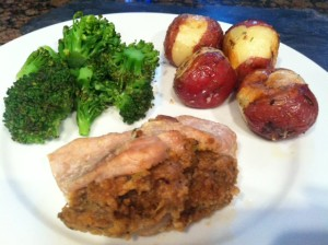 Pork Chops stuffed with breadcrumbs and spices