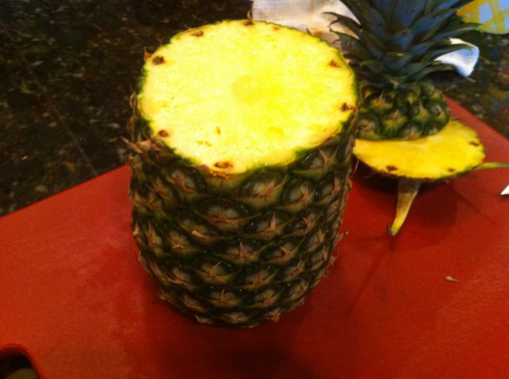 preparing a pineapple