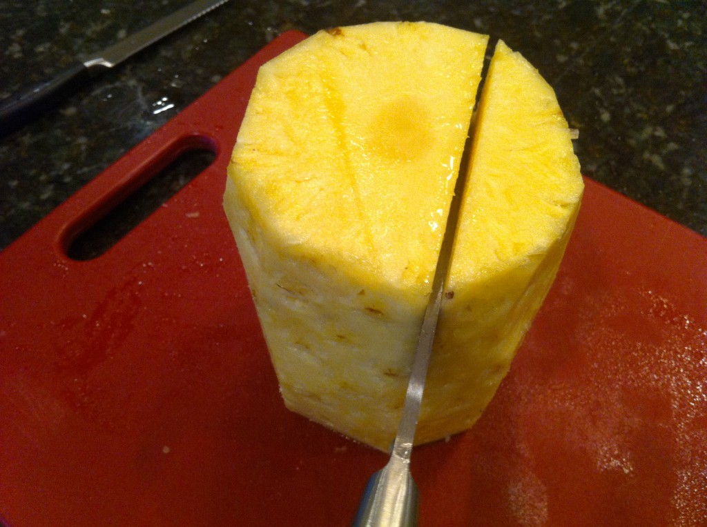 Preparing a whole pineapple