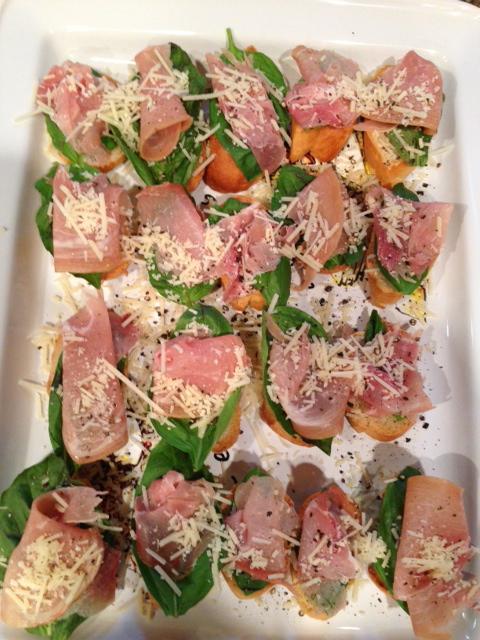 Prosciutto Basil Crostini with Shredded Parmigiano Reggiano Cheese ...