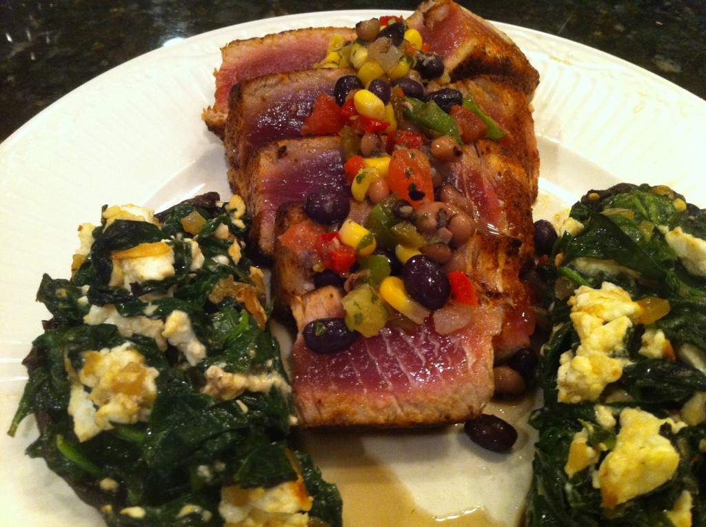 seared tuna with stuffed mushroom