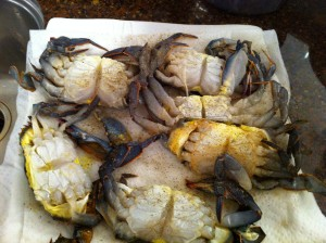 preparing soft shell crabs