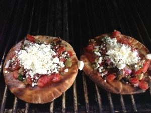 Grilled Pita with Tomato Onion and Feta