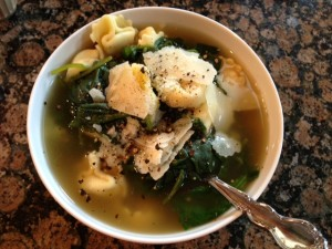 Tortellini Soup with Spinach