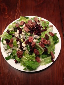 Salad with blue cheese, craisins, toasted pecans and champagne vinaigrette