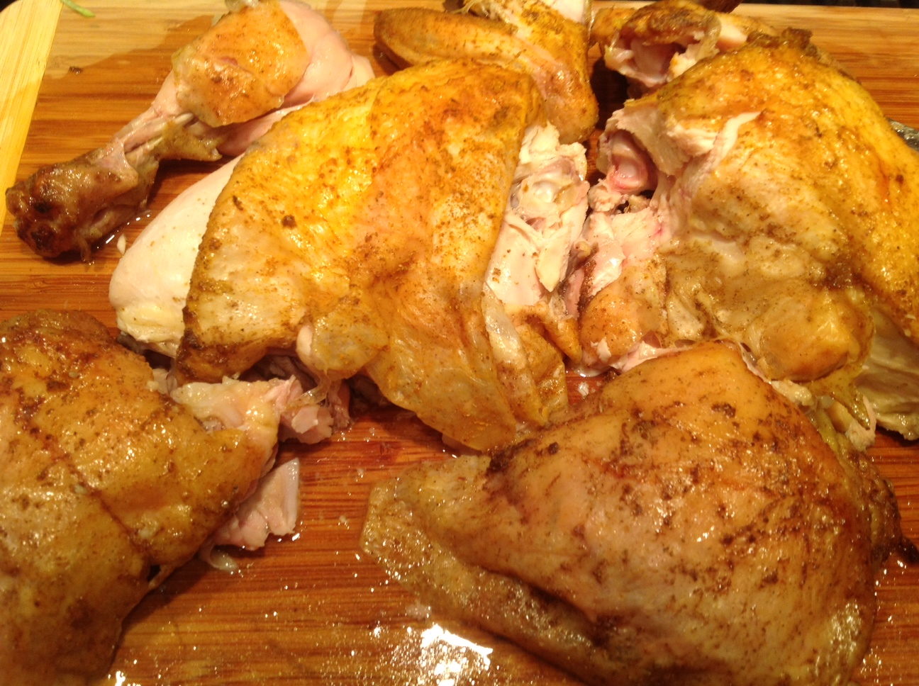 Roasted chicken with different spice rub
