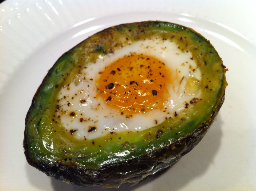 egg baked inside avocado