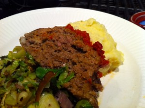 meatloaf, mashed potatoes and brussels sprouts