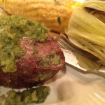 Filet topped with tomatillo chimichuri