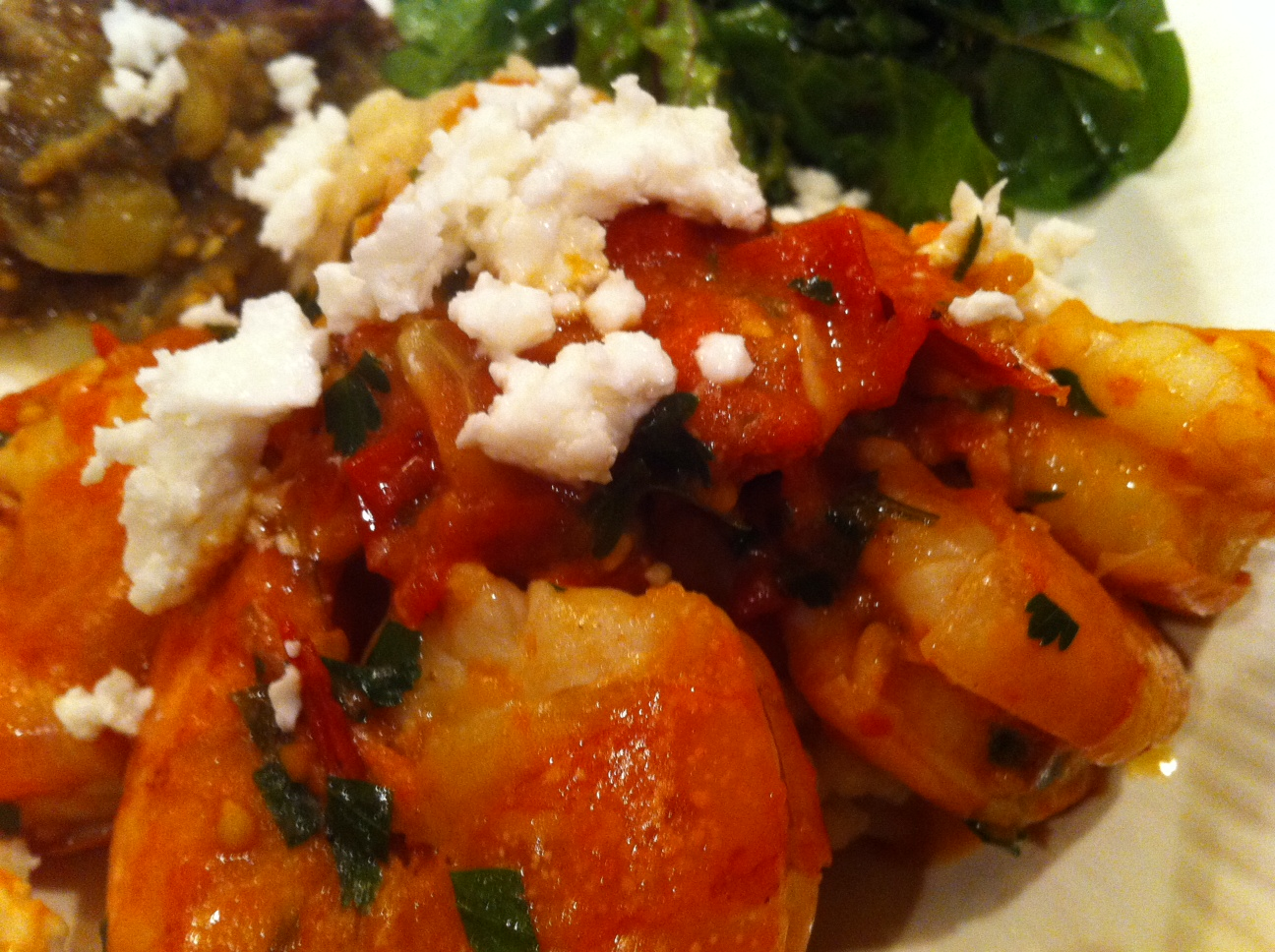 Shrimp Saganaki – Sauteed Shrimp with Tomatoes and Feta