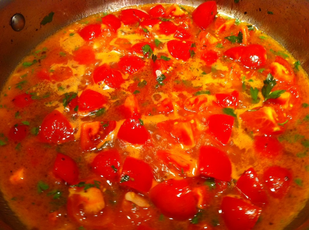 Shrimp Saganaki - Sauteed shrimp with tomatoes and feta and ouzo