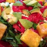 Kale Caesar Salad with Polenta Croutons