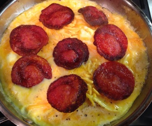 Cheesy Eggs with Pepperoni