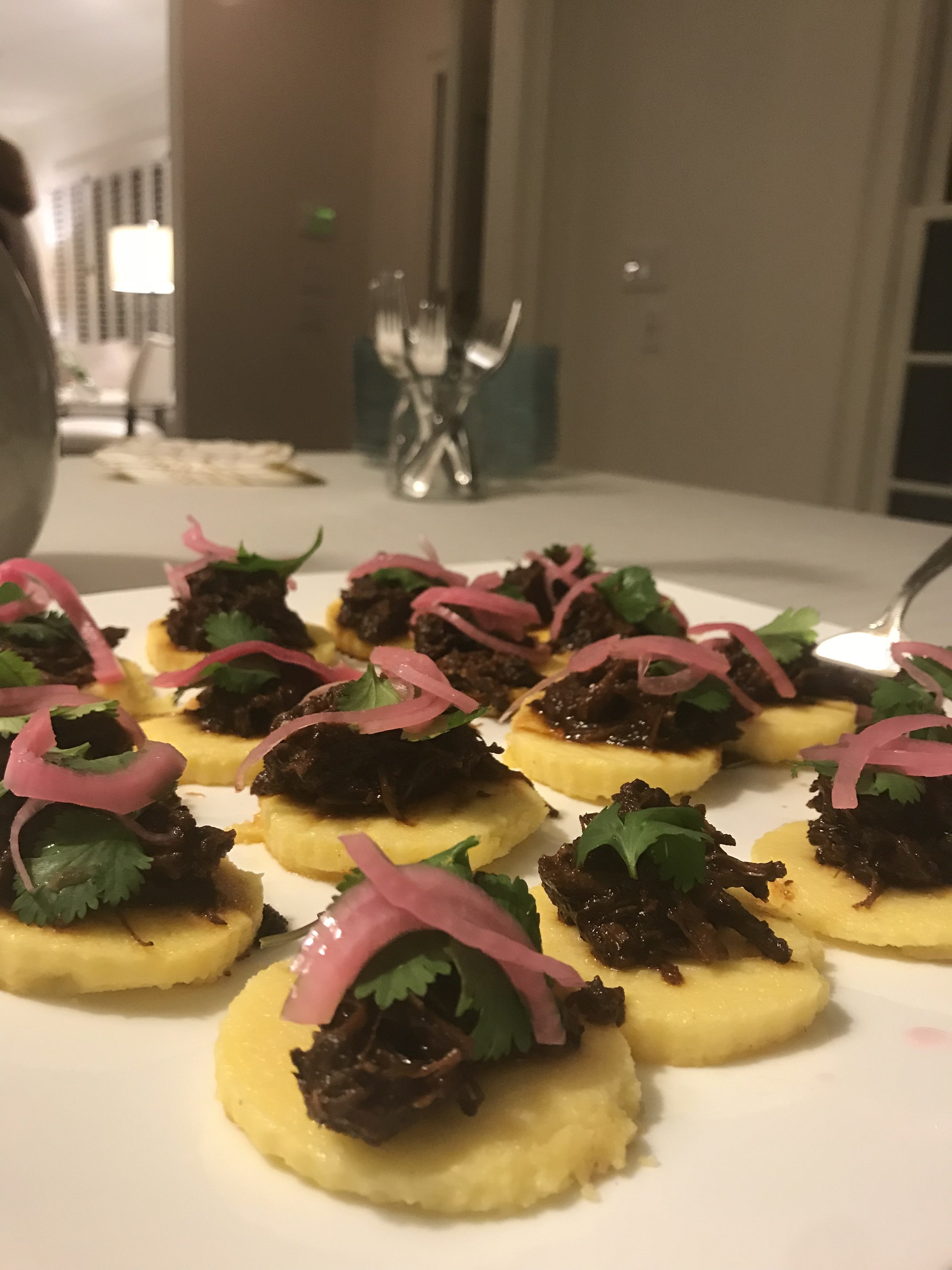 Braised Short Rib on Polenta Round